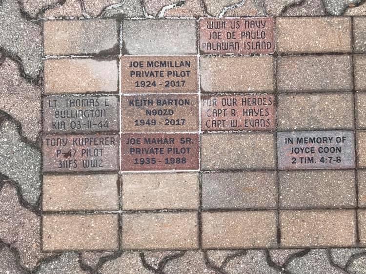 Commemorative Bricks on display at the Illinois Aviation Museum